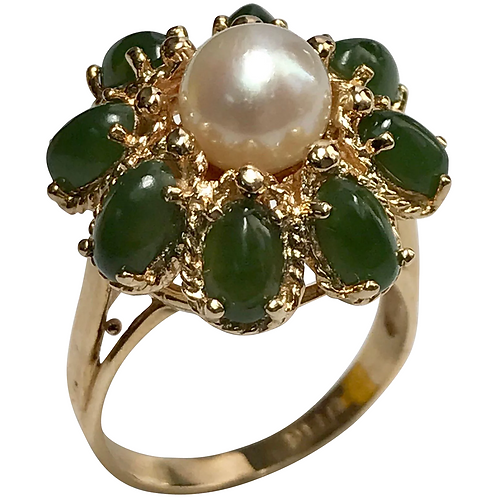 14 K Yellow Gold Pearl & Jade Cocktail Ring