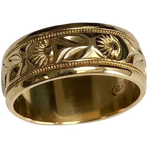 14 K Yellow Gold Floral Design 7 mm Wedding Band
