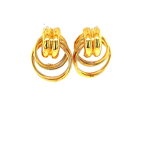 "Gorgeous 3/4"" Handcrafted 14k Yellow Gold Earrings Round Swirl Design"