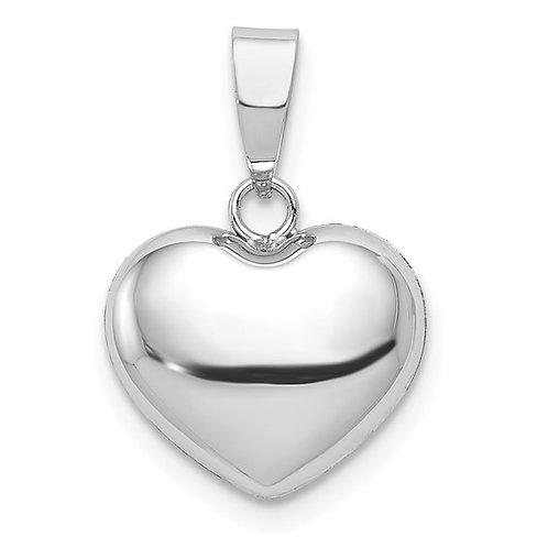 Beautiful 14k White Gold 3D Heart Pendant