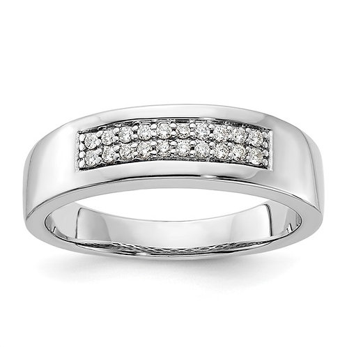 Men's 925 Sterling Silver & Diamond Wedding Band NICE!