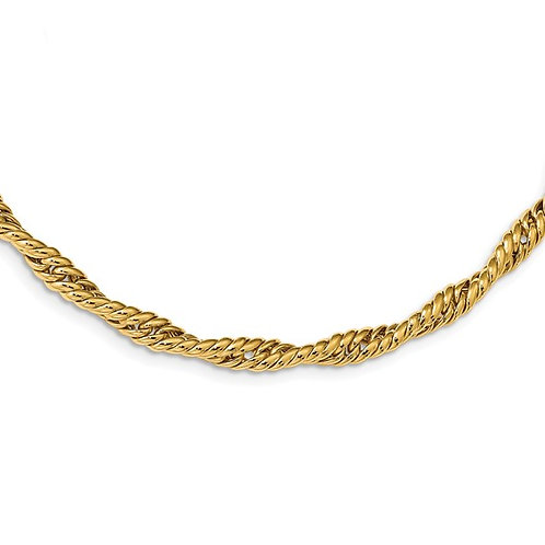 Gorgeous Ladies Thick Statement 14k Gold Twisted Fancy Link Necklace Measures 17