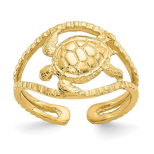 Beautiful Sea Turtle Beach Sand Handcrafted Solid 14K Yellow Gold Toe Ring