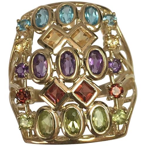 10 K Yellow Gold Elongated Multi Gemstone Ring