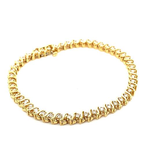 Gorgeous 14K Gold IGI Certified 1.96 Carats Diamond Bracelet