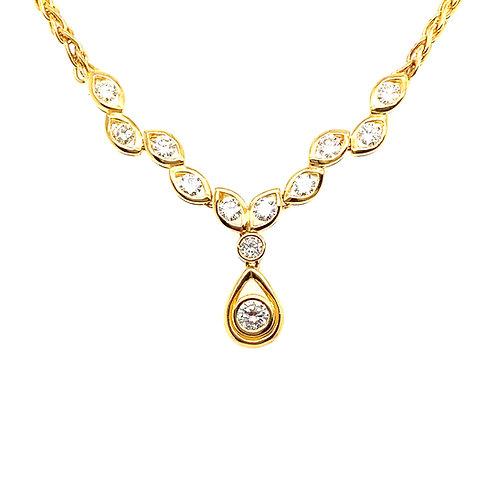 Stunning 18K Gold 1.23 Carats IGI Certified Diamond Tear Drop Necklace