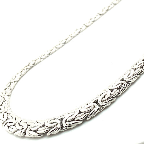 """Absolutely Gorgeous Handcrafted 14k White Gold Byzantine Necklace 20"""" Exquisite!"""