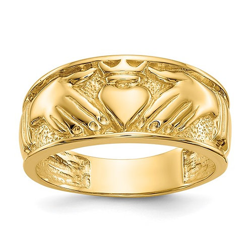 Men's 14k Solid Polished Yellow Gold Claddagh Band 7g 24mm NICE!