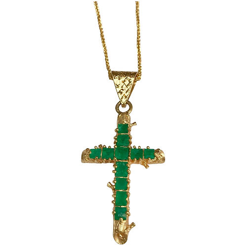 18 K Yellow Gold Emerald Hand Crafted Cross/Chain
