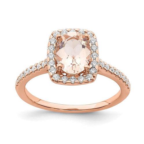 Gorgeous 14K Rose Gold Morganite Diamond Halo Engagement Ring 0.30ct