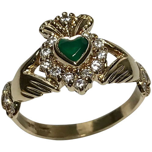 10 K Yellow Gold Faux Diamond And Emerald Claddagh Ring
