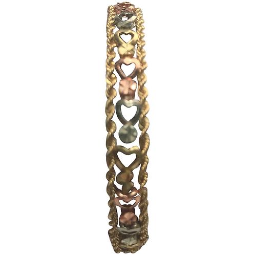 "10K K Tri Gold Heart & Rope Design Bracelet 8"""