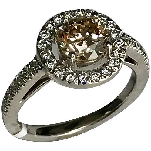 18k White Gold 1.46 Carat Diamond Engagement Ring ~ IGI Cert~