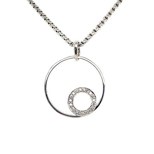 Gorgeous 14K White Gold Circles Diamond Necklace
