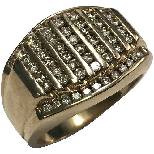 10 k Yellow Gold Men's - 1.5 ctw Round Brilliant Diamond Ring