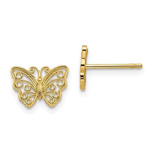 14k Yellow Gold Butterfly Earrings CUTE!