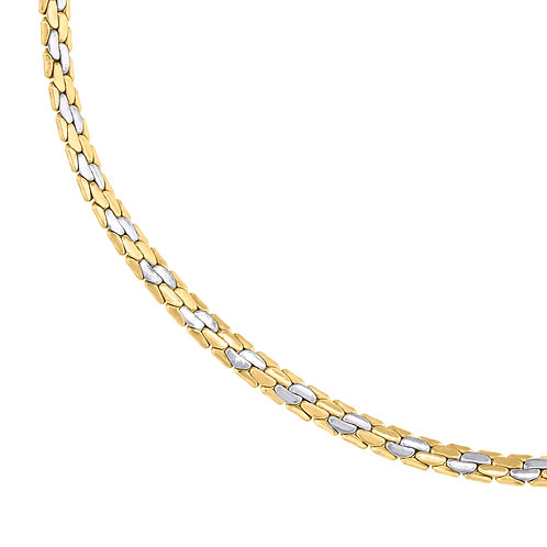 """Beautiful Women's Two Tone Handcrafted 14k White & Yellow Gold Fancy Link 18"""""""