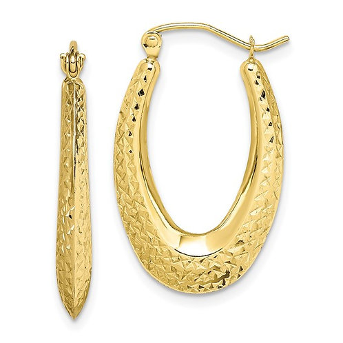 Beautiful Handcrafted 10k Yellow Gold Textured Oval Hoop Earrings GORGEOUS!