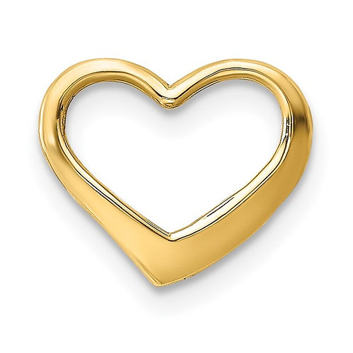 Handcrafted 14K Yellow Gold Floating Heart Charm Pendant