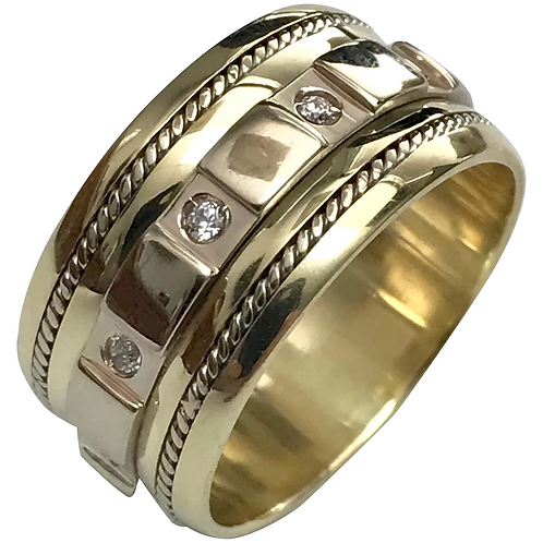14K Yellow Gold 9 mm Diamond Wedding Band