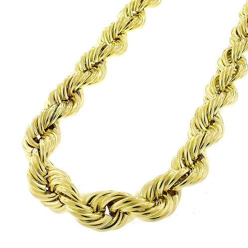 "Large Hollow 9mm 10k Handcrafted Gold Rope Chain Measures 27.5"" Lot of Sparkle"