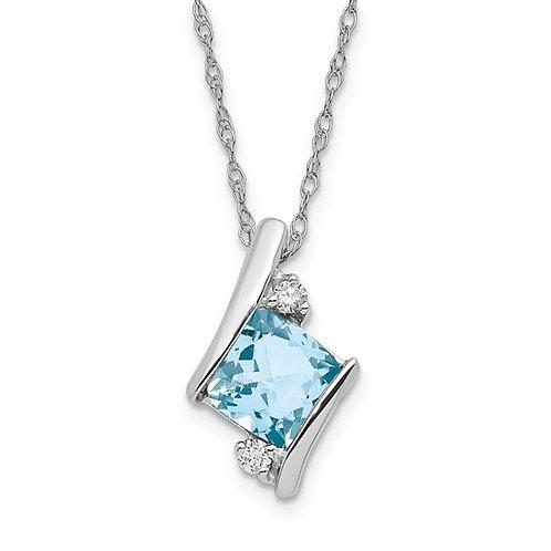 """10k White Gold Diamond & Aquamarine Pendant and Necklace 18"""""""