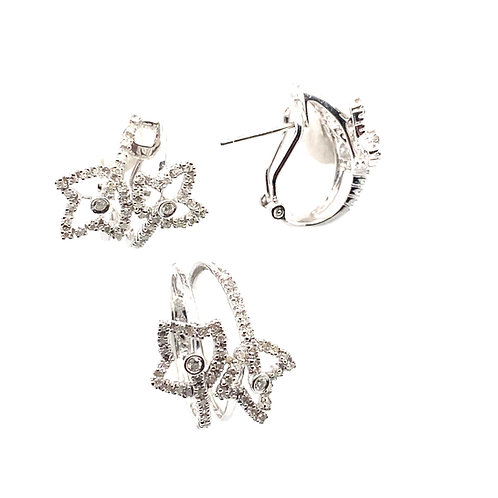 Absolutely Gorgeous Earring & Ring Set 14k White Gold and Diamonds