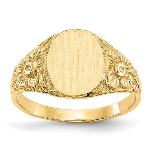14k Yellow Gold Unique Design Signet Ring Engravable NICE!