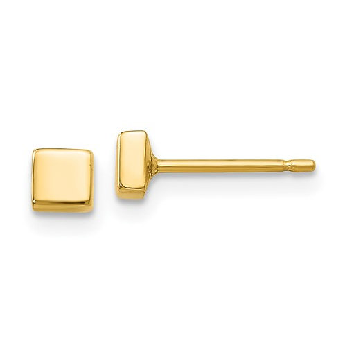 14k Yellow Polished Gold Square Post Stud Earrings NICE!