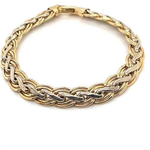 Unisex Handcrafted Fancy Link Bracelet 14K and White Gold 10mm