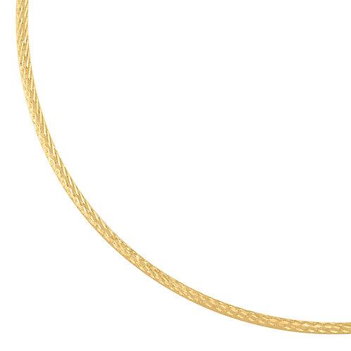 "14k Yellow Gold Omega Necklace Diamond Cut 10.4g GORGEOUS! Measures 16"""