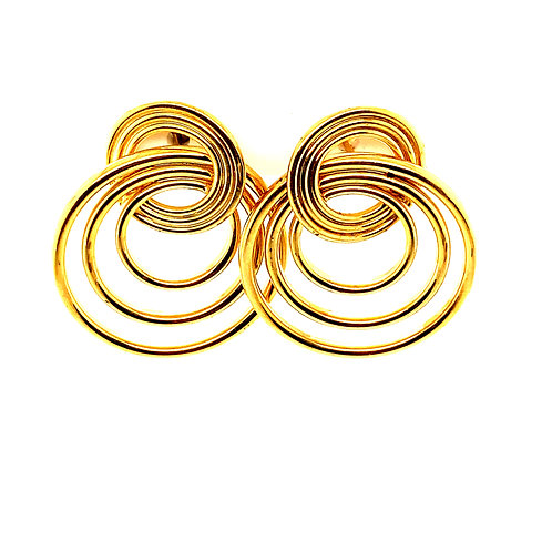 Round Circle Double Hoop Drop Dangle Earrings Handcrafted 14k Yellow Gold