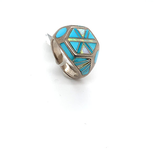 Unique 925 Sterling Silver & Turquoise Ring W/Opal Accent Inlay
