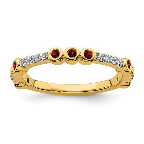 14K Yellow Gold Stackable Garnet & Diamond Ring Absolutely Gorgeous!