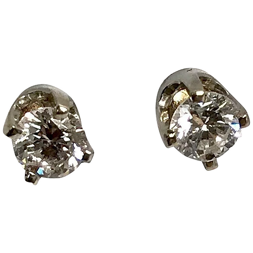 14 K White Gold 0.42 Carat Round Diamond Stud Screw Back Earrings, Comes with IG