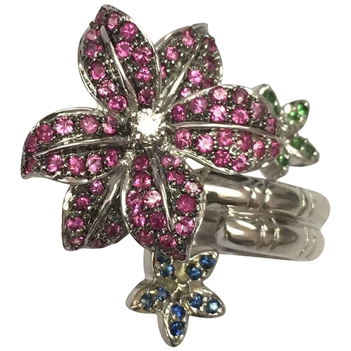 14 K White Gold Pink Sapphire, Blue Sapphire, Green Tsavorite & Diamond Flower