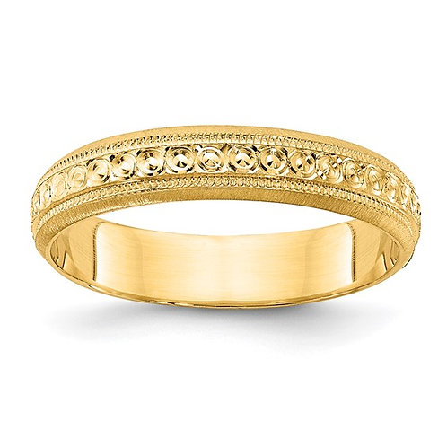 Women's 14K Yellow Gold Etched Design Wedding Band 3mm NICE!
