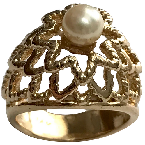 14 K Yellow Gold 5.3 MM Cultured Pearl Ornate Ring