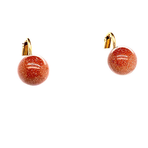 Beautiful 14K Gold Goldstone Cabochon Stud Earring