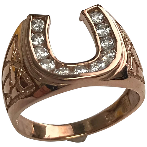10 K Rose Gold Faux Diamond Horse Shoe Ring