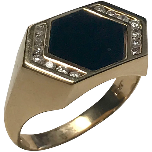 14 K Yellow Gold, Onyx & Diamond Ring