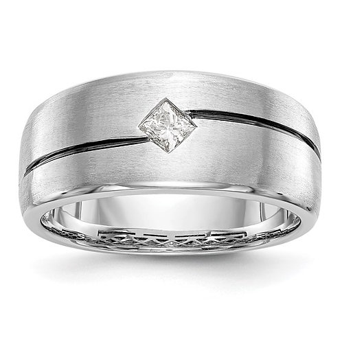 Men's Handcrafted 14k White Gold & Diamond Wedding Band
