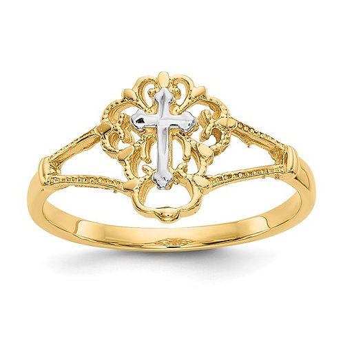 14K Two Tone Diamond Cut Gold Cross Ring