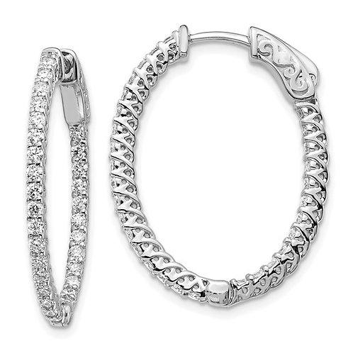 14k White Gold & Diamond Oval Hoop Earrings BLING BLING!