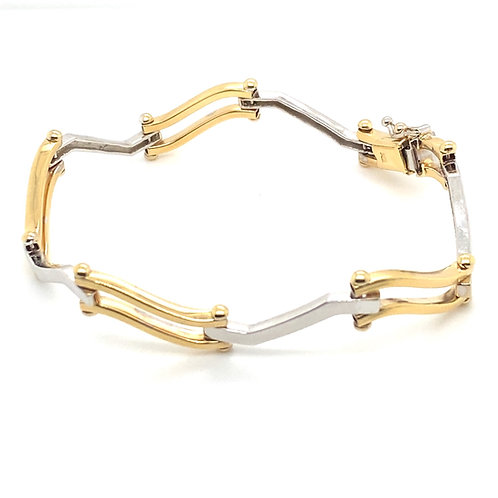 Gorgeous Yellow and White Gold Thick 8mm Bracelet