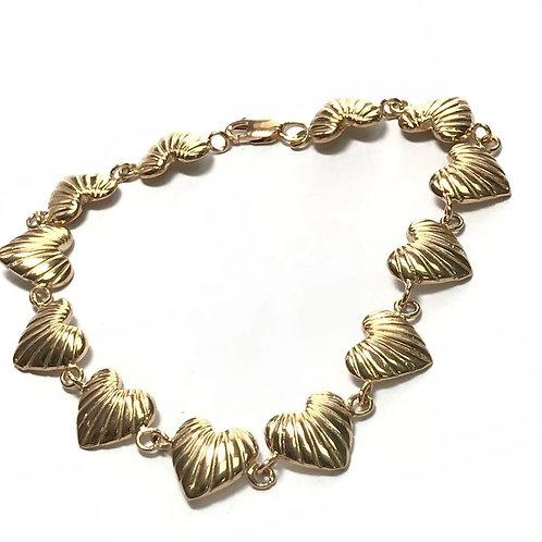 10 k Yellow Gold Heart Link Bracelet