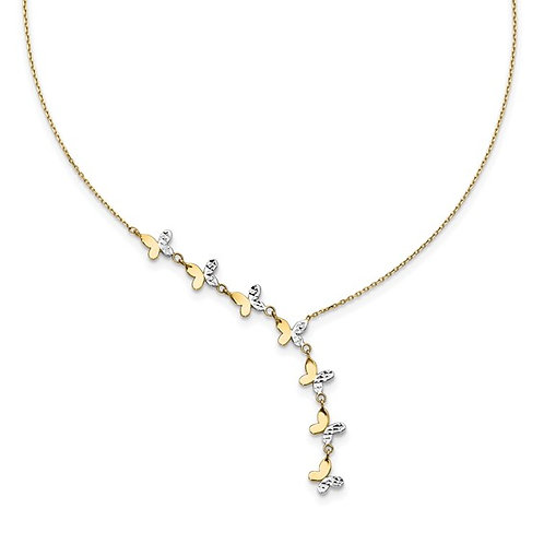 14k Two Tone Gold Flowing Butterfly Diamond Cut Necklace Measures 18""