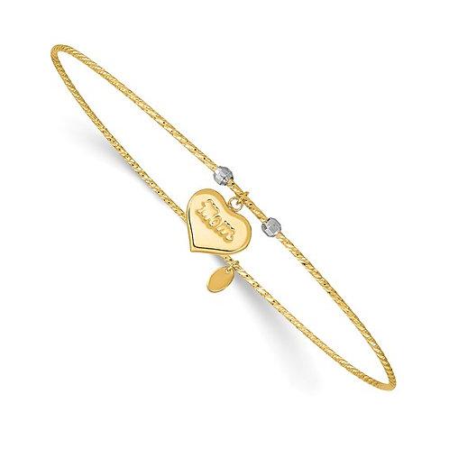 "14k Two Tone Gold MOM Bracelet Measures 8"" Sweet Dainty 1mm 1.5g NICE!"