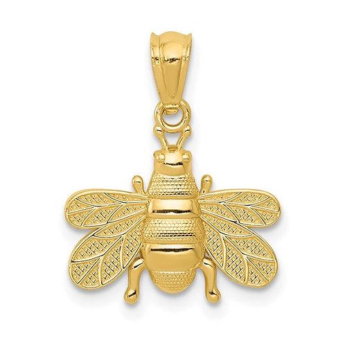 14K Bee Pendant Charm Polished Finish Super Cute Piece!