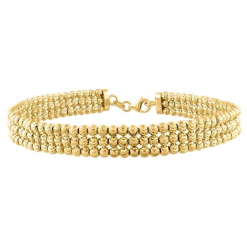 14k Yellow Gold Beaded 3 Layer Bangle Bracelet 11.7g 7.25mm Super Upscale